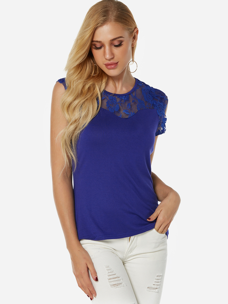 Yoins Blue See Through Lace Insert Plain Crew Neck Cap Sleeves Tee