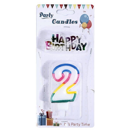 Party Number 2 Candle Happy Birthday Décor - LivingBasics™