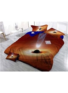 Fantastic Galaxy Theme Wear-resistant Breathable High Quality 60s Cotton 4-Piece 3D Bedding Sets