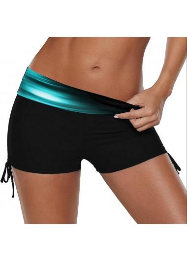 Mid Waist Drawstring Side Printed Swimwear Shorts - S