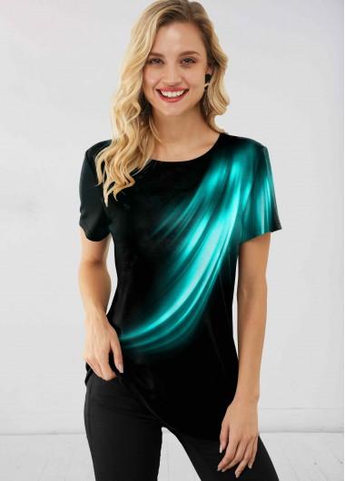 Round Neck Short Sleeve Printed T Shirt - XL