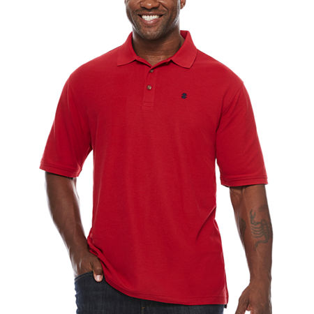 IZOD Mens Short Sleeve Polo Shirt Big and Tall, Large Tall , Red