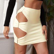 Cutout Side Rib-knit Bodycon Skirt