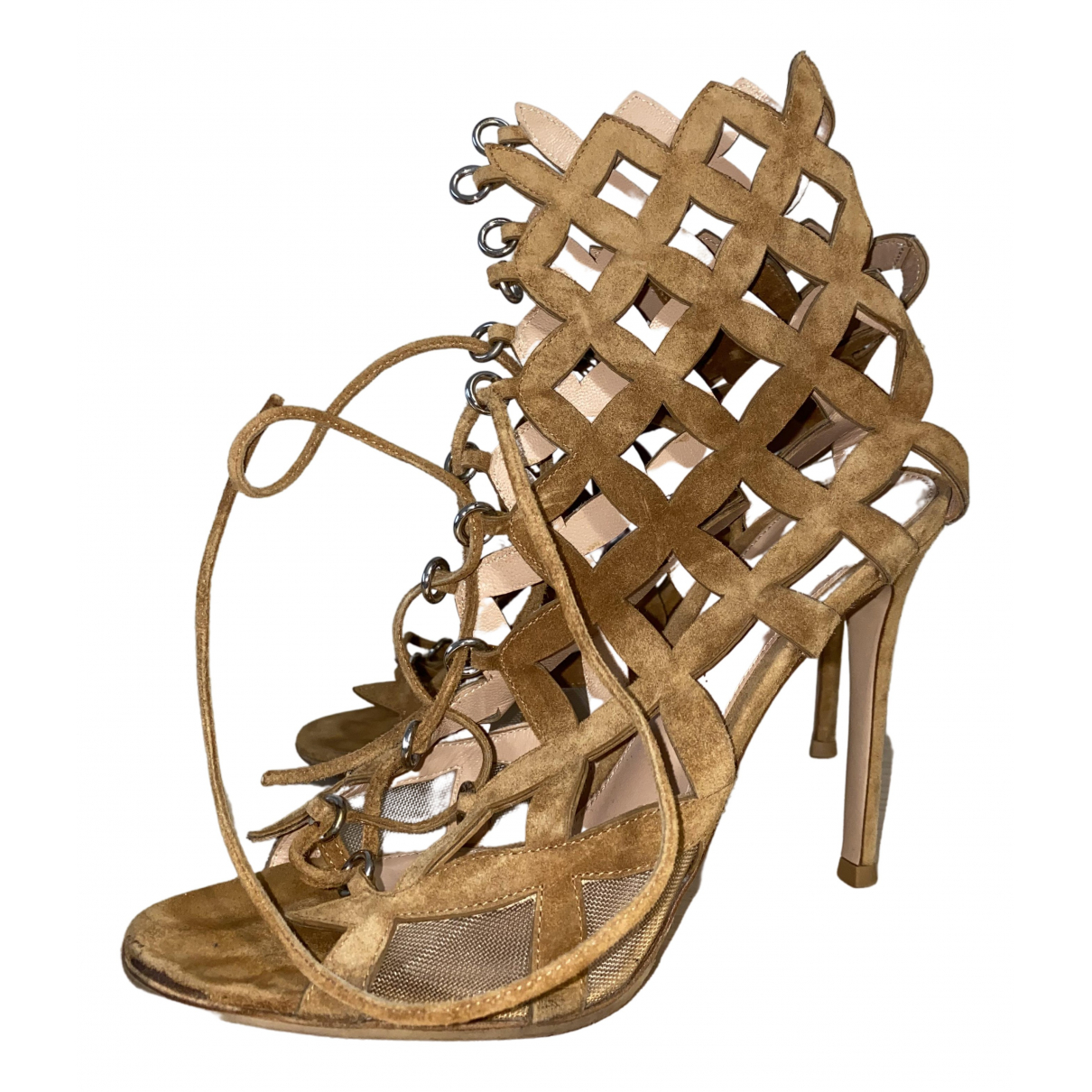Gianvito Rossi \N Camel Suede Sandals for Women 37.5 EU