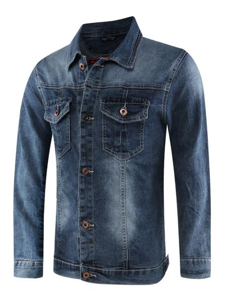 Milanoo Men Denim Jacket Plus Size Distressed Pocket Button Up Regular Fit Blue Jacket