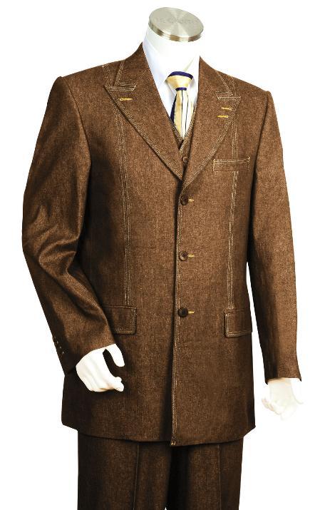 3 Piece 3 Button Brown Vested Denim Fabric Suit Mens
