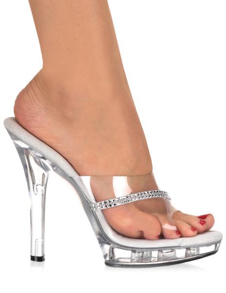 Milanoo Transparent Rhinestone Peep Toe PVC Upper Sexy Mules For Women