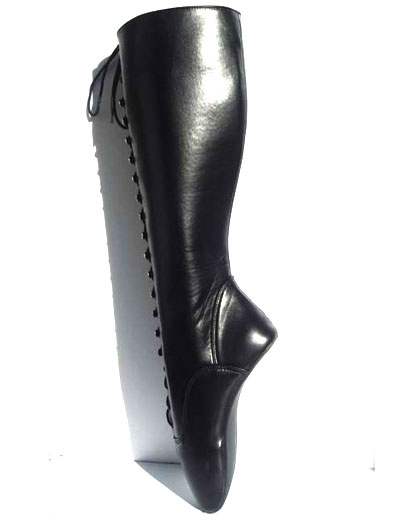 Milanoo Black Sexy Boots Women PU Leather Lace Up Ballet Boots