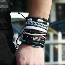 6pcs Men Braided PU String Bracelet