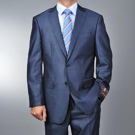 Mens Metallic Blue 2button Suit