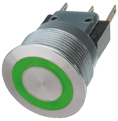 Schurter Single Pole Double Throw (SPDT) Momentary Green LED Push Button Switch, IP40, IP67, 19 (Dia.)mm, Panel Mount,