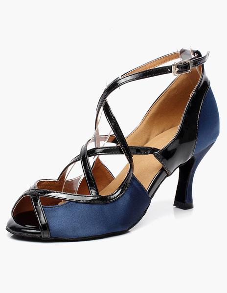 Milanoo Blue Peep Toe Cross Strap Flared Heel Latin Dance Shoes