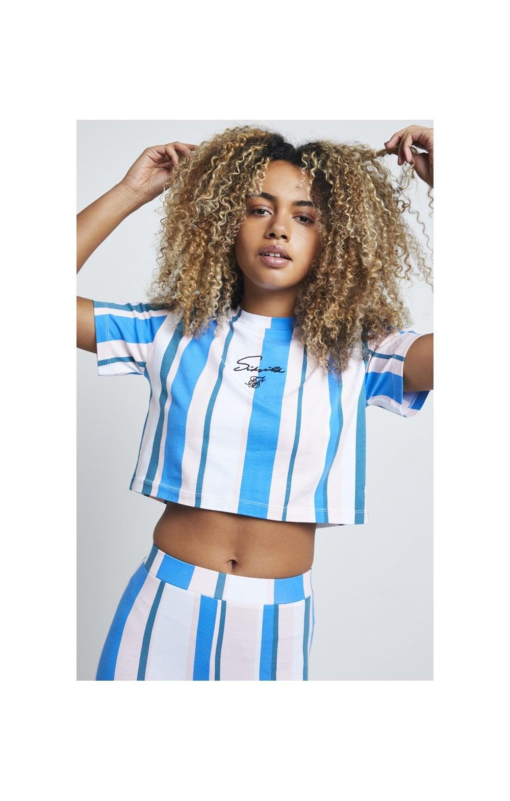 SikSilk 90's Stripe Crop T-Shirt  Rotary Stripe WOMEN SIZES: 4-XX