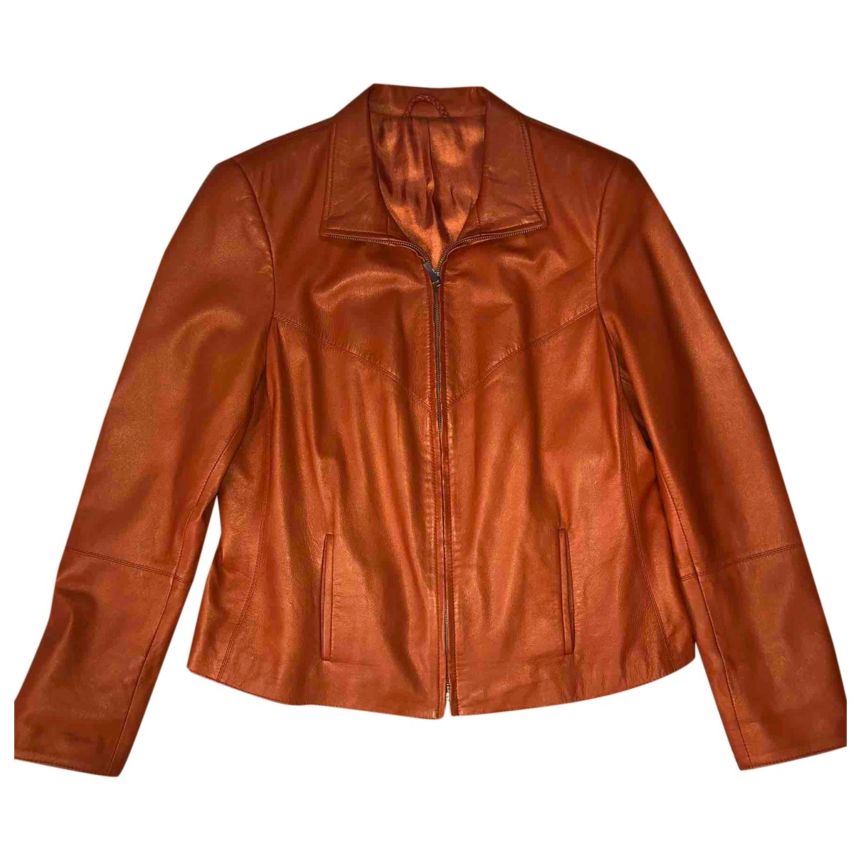 Non Signé / Unsigned \N Orange Leather jacket for Women 42 FR