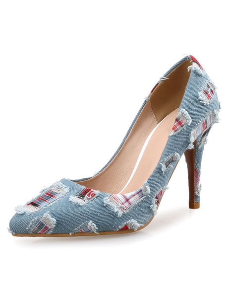 Milanoo Women's High Heels Light Blue Pointed Toe Denim Patched Slip On Pumps
