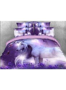 Purple Unicorn Non-deformation Non-fade 3D Printed 4-Piece Polyester Bedding Sets