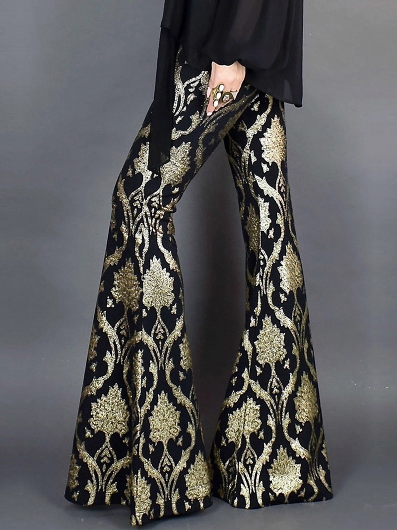 Ericdress Sequins Slim Bellbottoms Full Length Casual Pants