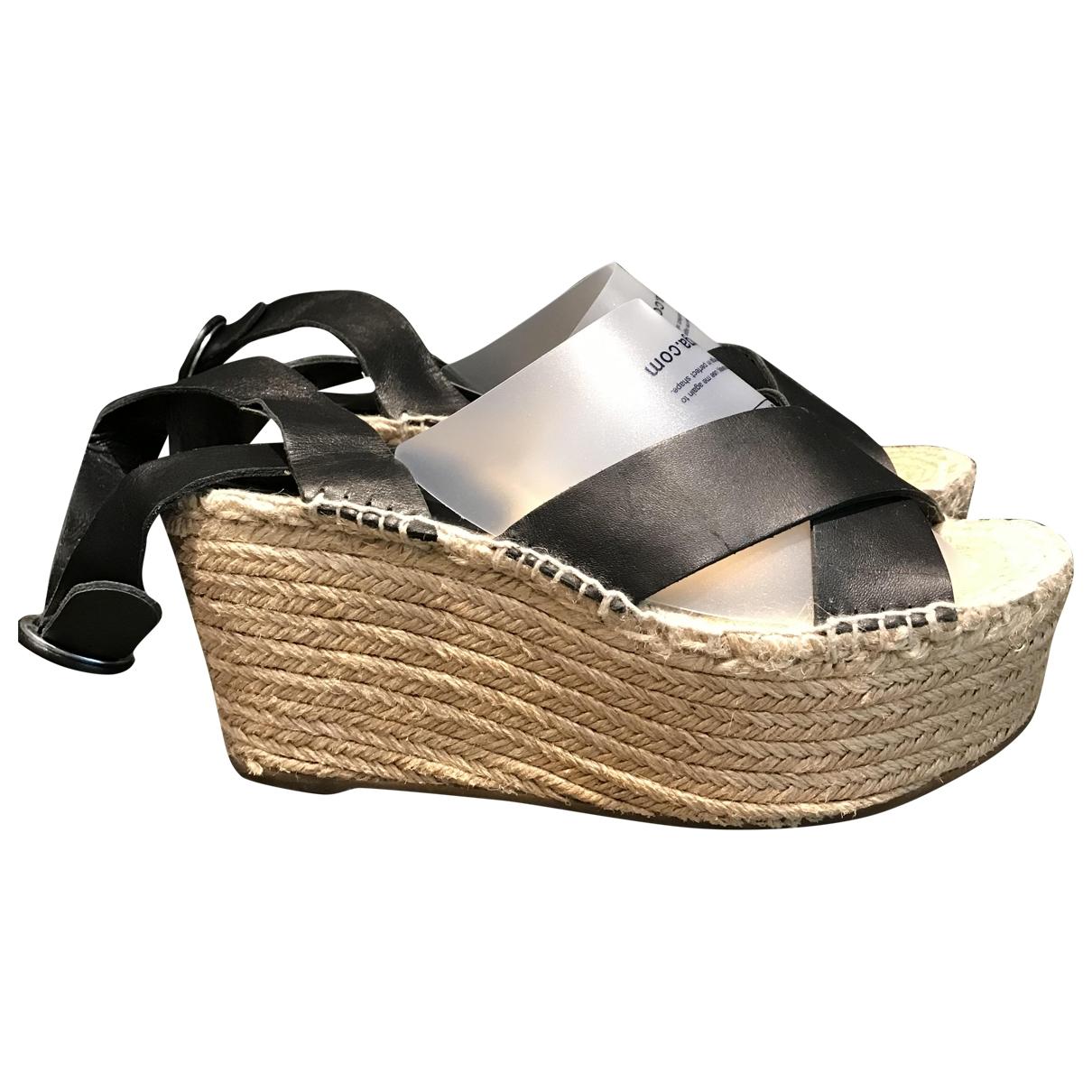Uterque \N Black Cloth Sandals for Women 38 EU