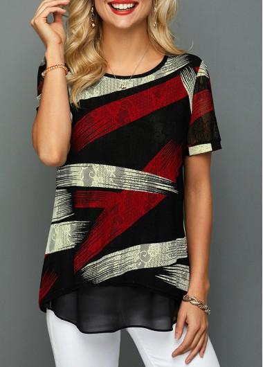 Rosewe Women T Shirt Multicolor Short Sleeve Curved Hem Tunic - XXL