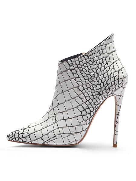 Milanoo Women Ankle Boots White PU Leather Pointed Toe Snake Print Stiletto Heel Booties