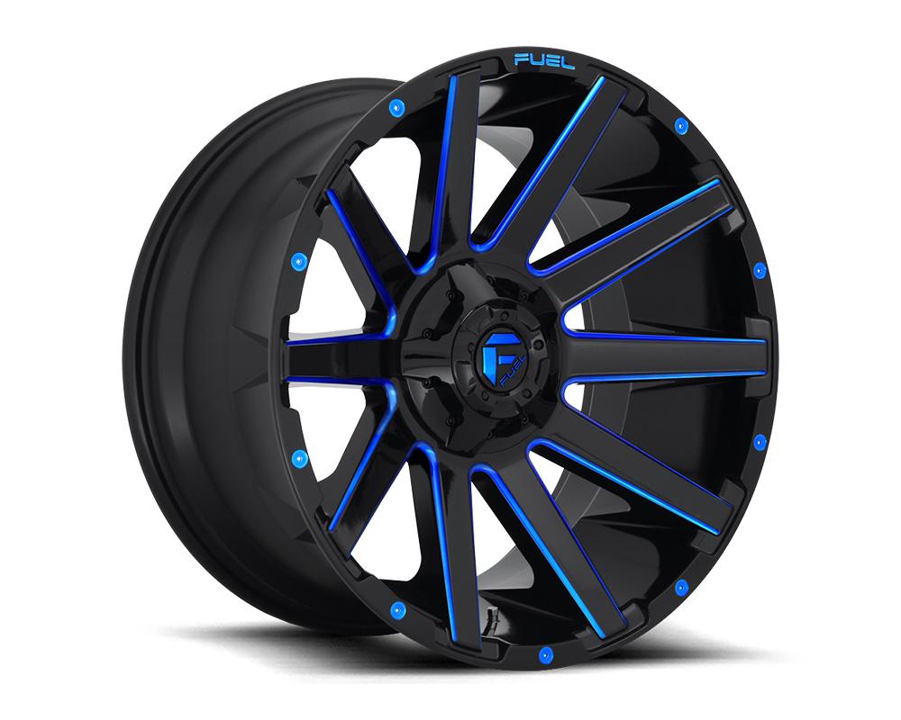 Fuel D644 Contra Gloss Black w/ Candy Blue 1-Piece Cast Wheel 20x10 5x139.7|5x150 -18mm