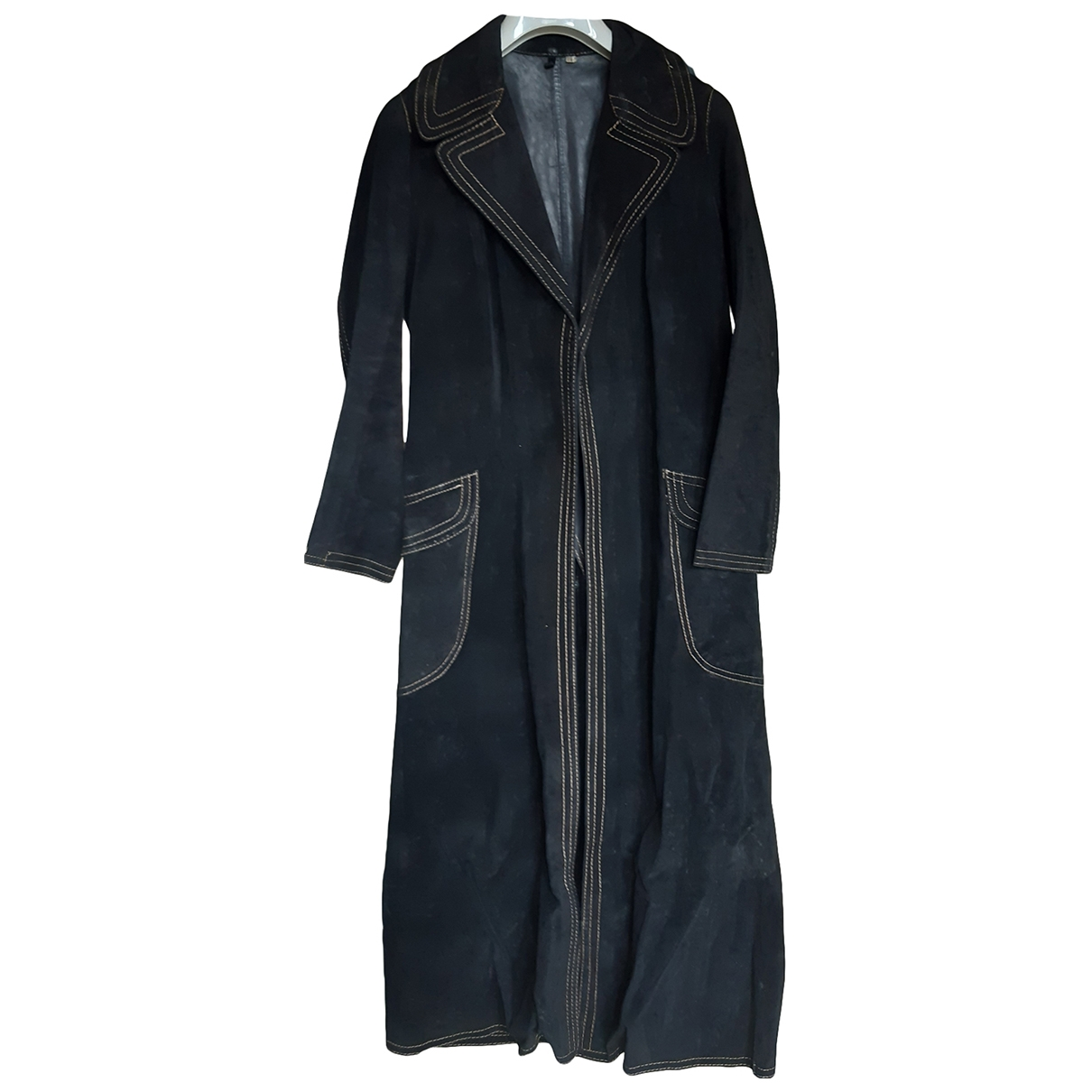 Non Signé / Unsigned \N Black Leather Trench coat for Women 44 IT