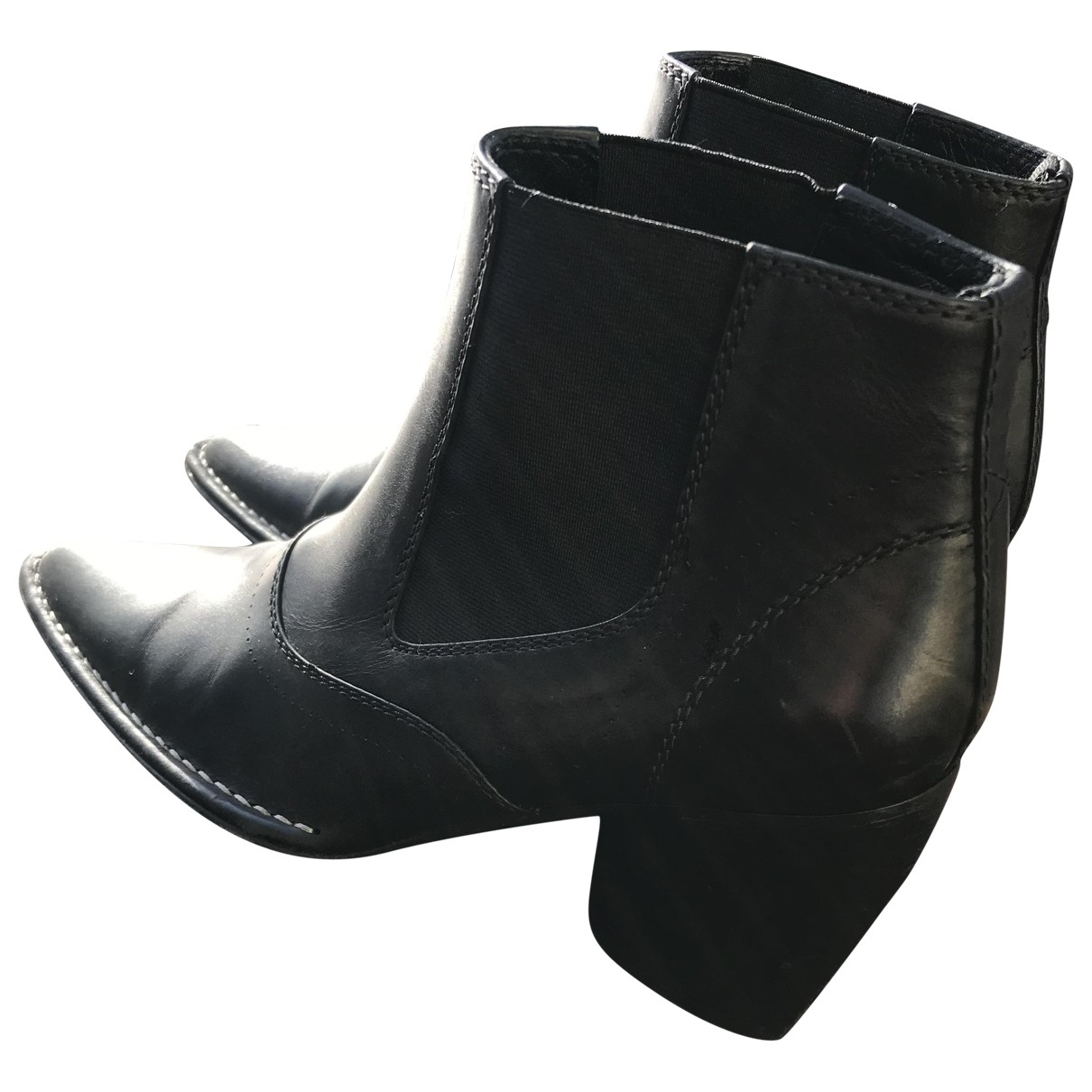 Joseph \N Black Leather Ankle boots for Women 40 EU