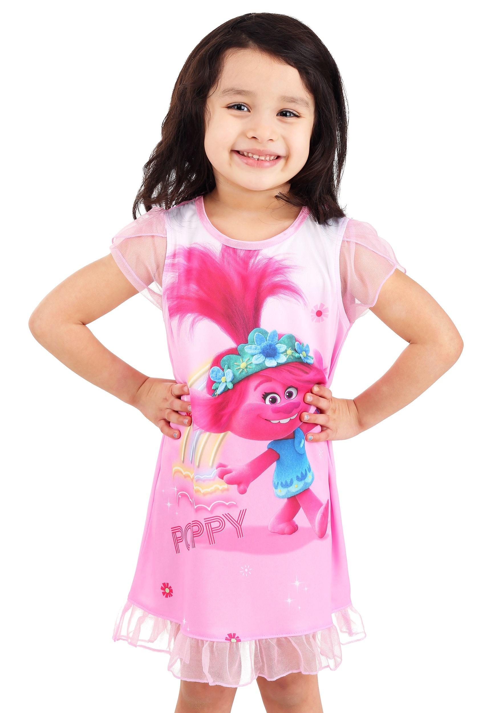 Trolls Girls Poppy Dorm Nightgown for Toddlers