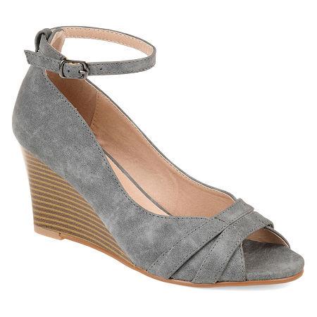 Journee Collection Womens Palmer Pumps Buckle Peep Toe Wedge Heel, 11 Medium, Gray