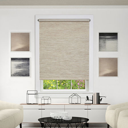 Jute Cordless Light-Filtering Roller Shade, One Size , White