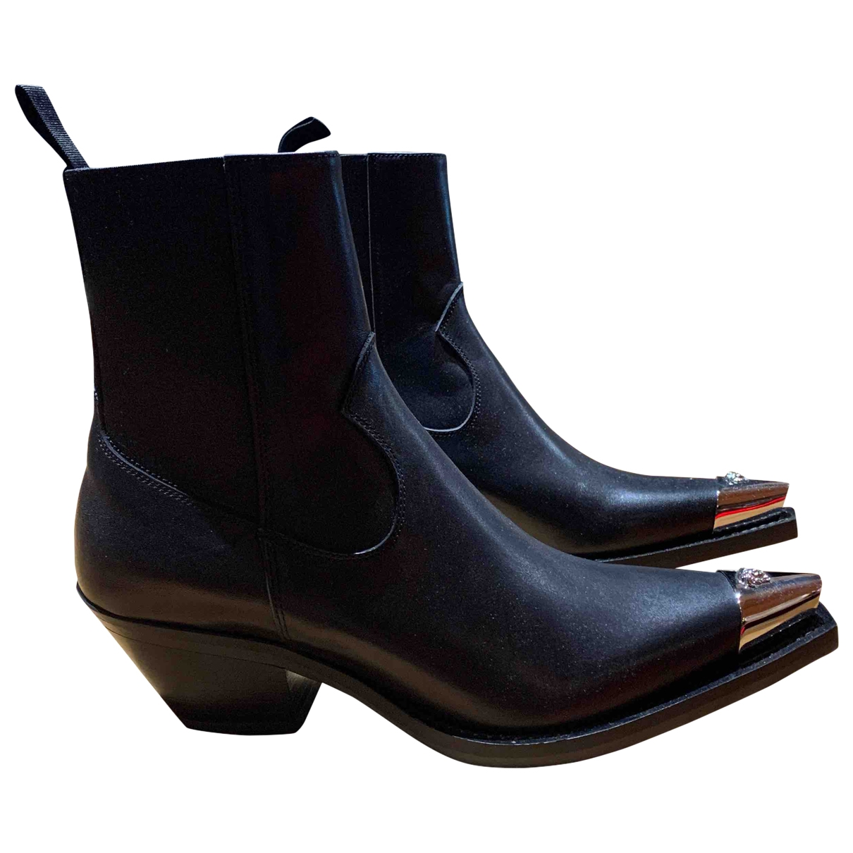 Versace \N Black Leather Ankle boots for Women 38.5 EU