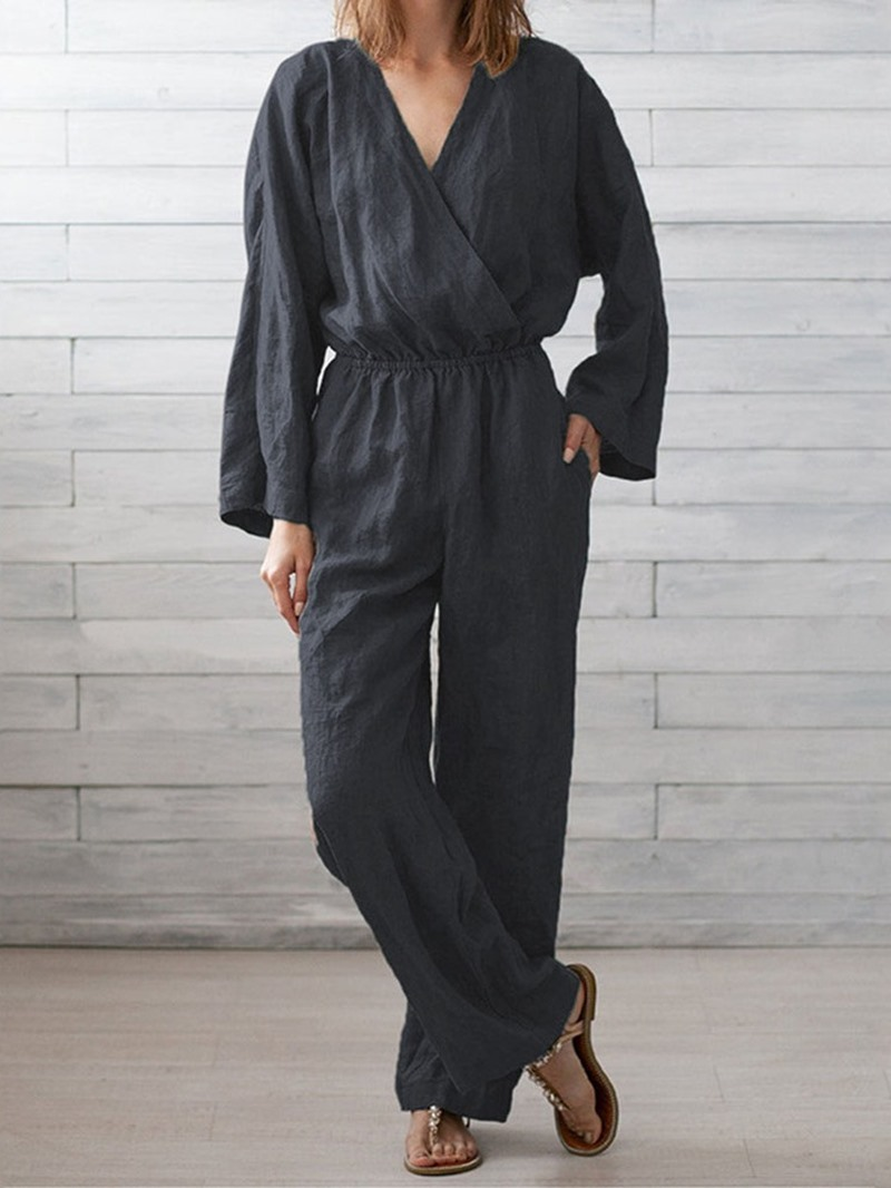 Ericdress Plain Casual Full Length Straight Loose Jumpsuit