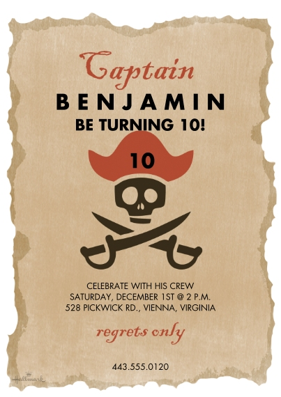 Kids Birthday Party Invites 5x7 Cards, Premium Cardstock 120lb with Rounded Corners, Card & Stationery -Pirate Captain