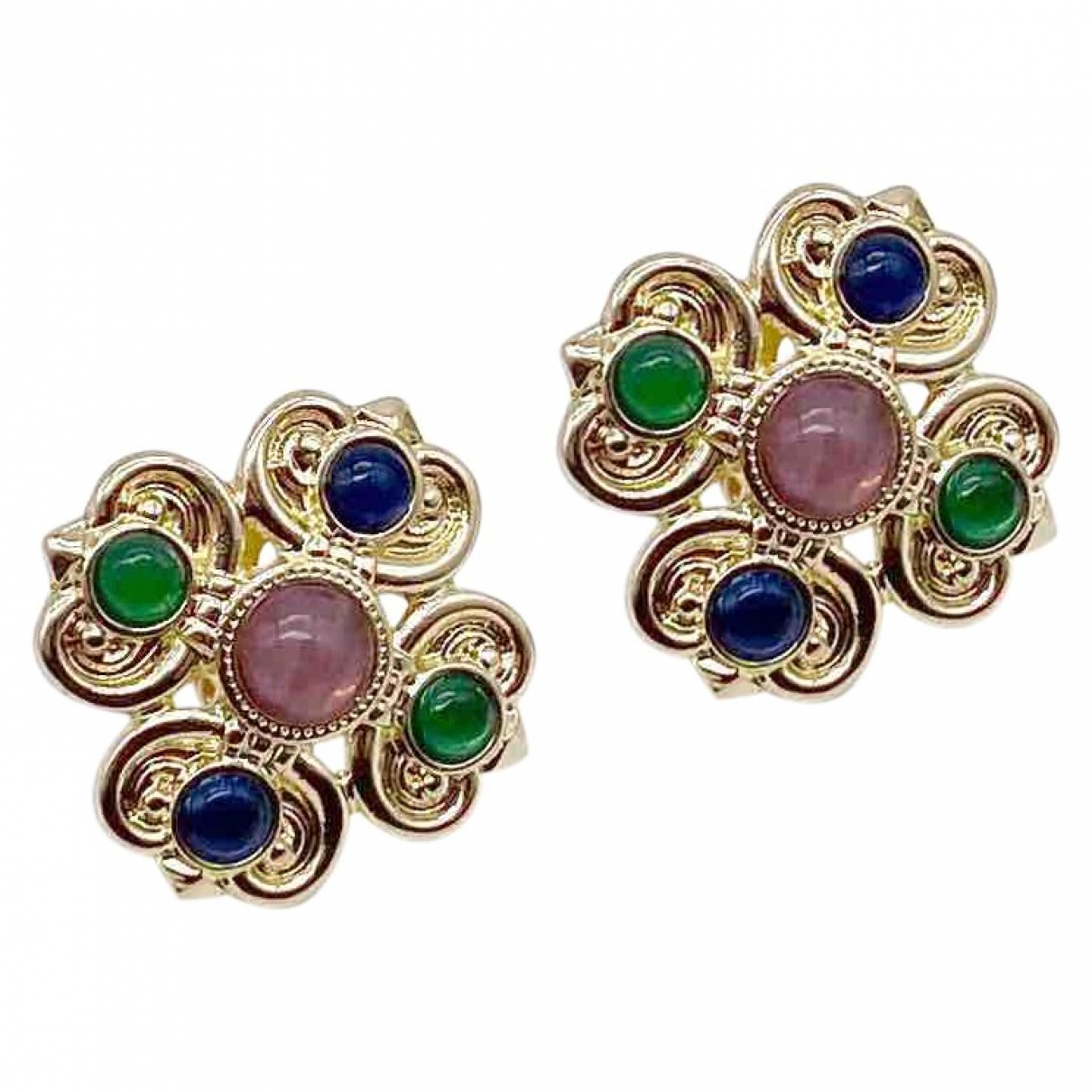 Non Signé / Unsigned Croix Gold Metal Earrings for Women \N