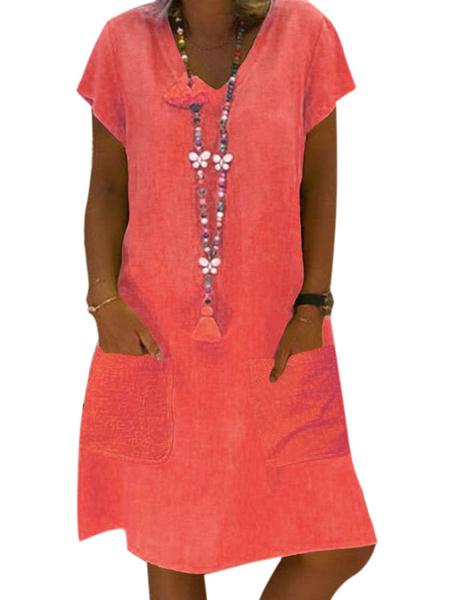 Milanoo T-shirt Dresses Pink Polyester Short Sleeves V-Neck Summer Dress