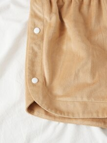 Elastic Waist Button Detail Shorts