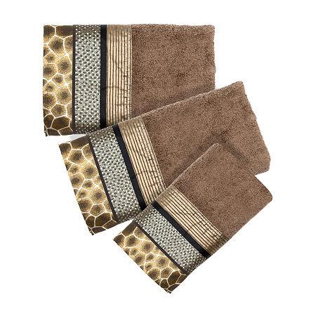 Safari Stripe 3-pc. Bath Towel Set, One Size , Brown
