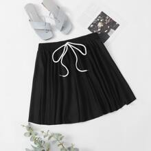 Plus Knot Front Flared Skirt