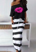 Lips Blouse + Striped Drawstring Long Skirt Outfit - Black