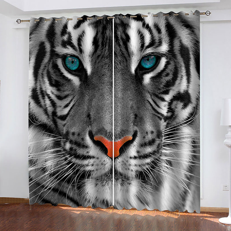3D Ferocious Tiger with Blue Eyes Decoration Blackout Window Curtains for Living Room Custom 2 Panels Drapes No Pilling No Fading No off-lining