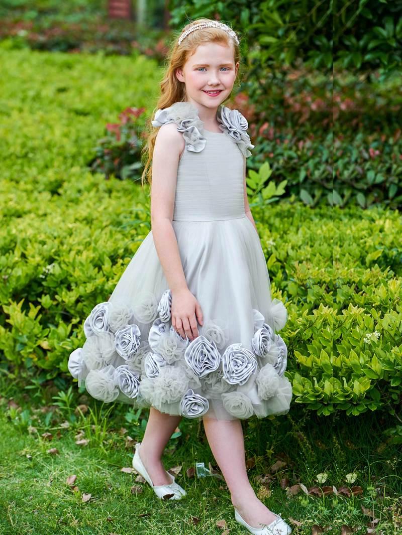 Ericdress Scoop Flowers Knee Length Flower Girl Dress