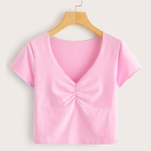 Ruched Pink Crop Tee