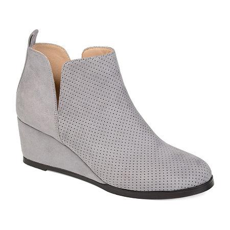 Journee Collection Womens Mylee Booties Wedge Heel, 8 1/2 Medium, Gray