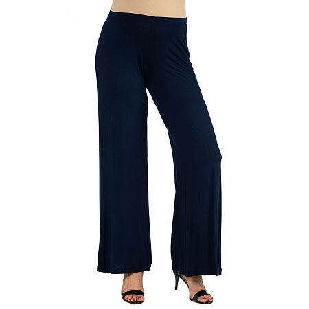 24/7 Comfort Apparel Comfortable Solid Color Palazzo Pant, Small , Blue