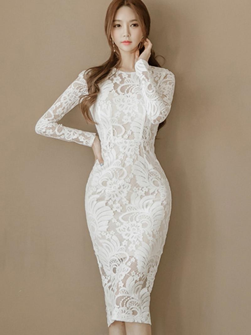 Ericdress Mid-Calf Round Neck Patchwork Zipper Regular Dress