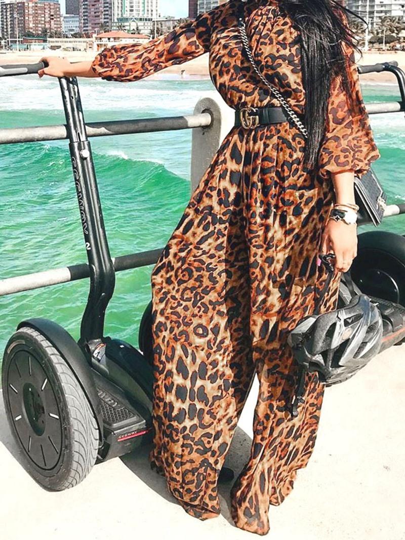 Ericdress Leopard Full Length Loose Jumpsuit