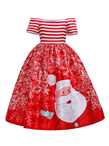 Milanoo Kids Christmas Cosplay Wears Santa Claus Stripe Costumes Outfit For Child