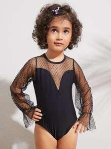 Toddler Girls Contrast Mesh Long Sleeve One Piece Swimwear