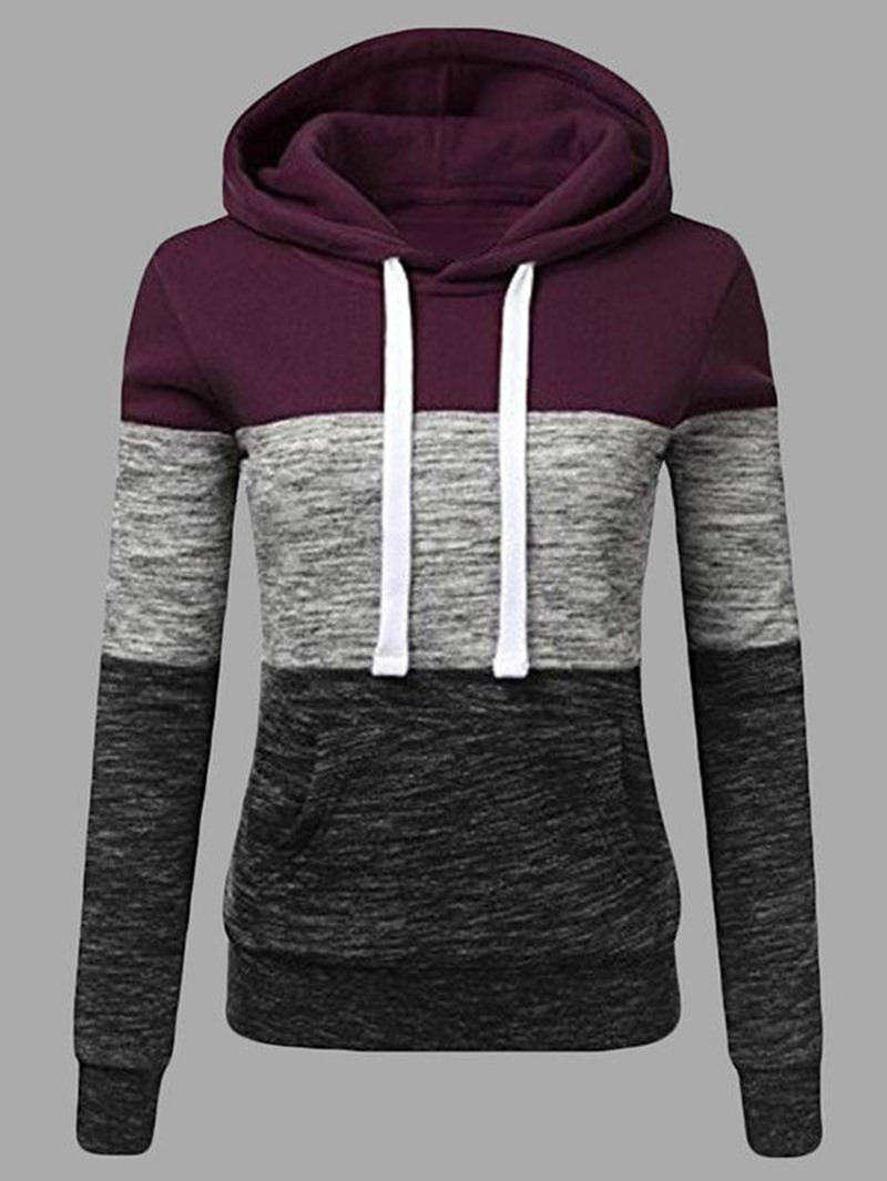 Ericdress Regular Color Block Hooded Winter Hoodie