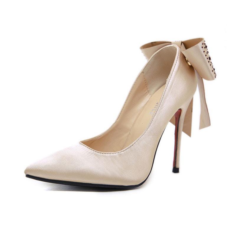 Ericdress Bow Rhinestone Stiletto Heel Pointed Toe Women's Pumps